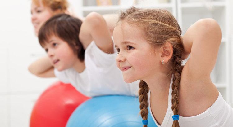 Kids on exercise balls
